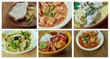Food set of different pork meat .