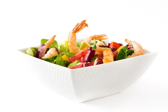 Shrimps salad with mango and avocado isolated on white background