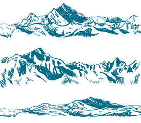 Outline drawings, mountains. Nature sketch. VECTOR illustrations set. Ice mountains, blue contour.
