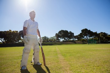 Cricket player with bat standing on grassy field