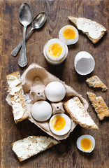 Simple breakfast Boiled duck eggs with toast