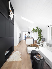Woman and dogs in rustic modern design farmhouse tiny house