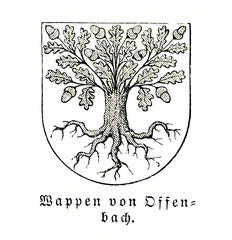 Coat of arms of Offenbach am Main, Germany (from Meyers Lexikon, 1896, 13/119)