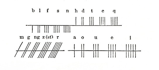 The twenty standard letters of the Ogham alphabet (from Meyers Lexikon, 1896, 13/127)