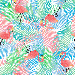 Fototapete - Seamless background with leaves and flamingos