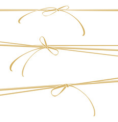 Vector template gold ocher lace bows.