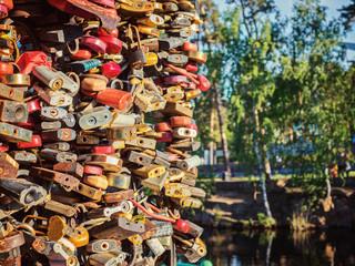 Locks love  ceremony place weddings, Gagarins park. Chelyabinsk, Russia.