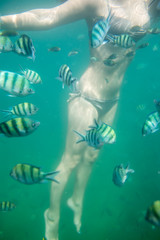 Girl swimming in ocean among colorful fish