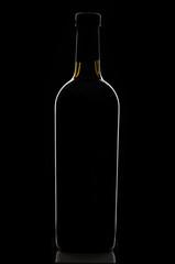 Elegant black corked wine bottle reflected on black background.