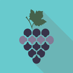 Bunch of wine grapes with leaf flat color icon for food apps and wraps