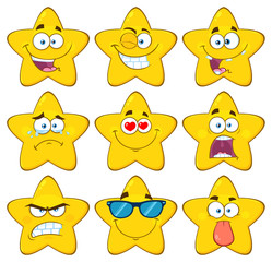 Funny Yellow Star Cartoon Emoji Face Series Character Set 1. Collection Isolated On White Background