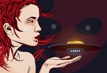 Woman, alien ship and alien face. Vector image.