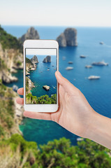 Taking photo of Capri Island in Italy