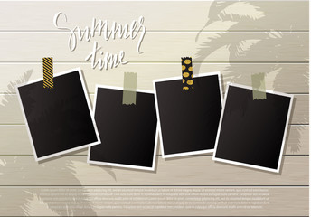 Summer background .Set of photo frames with adhesive tape. Wooden wall. Vector illustration.