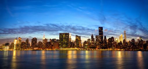 New York City Manhattan Midtown skyline panorama at dusk