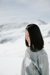 Profile of a young woman,Swiss Alps, Switzerland