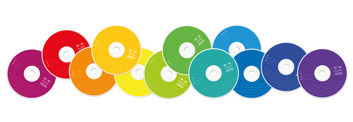 CDs - colored compact disc collection loosely arranged - isolated vector illustration on white background.