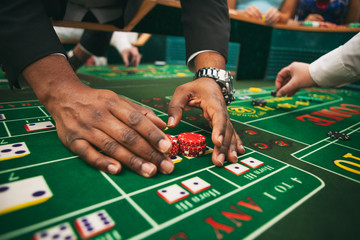 Casino Man Wins On Craps Table