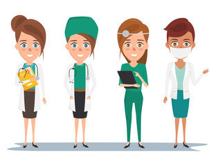 Set of avatar doctor character for medicine. people icon set.