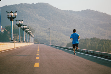 A man running on the road