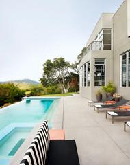 Modern home with backyard swimming pool