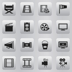 Set Of 16 Editable Movie Icons. Includes Symbols Such As Tripod, Pennant, Camera Strip And More. Can Be Used For Web, Mobile, UI And Infographic Design.