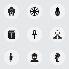 Set Of 9 Editable Faith Icons. Includes Symbols Such As Solar Emblem, Pope, Begging And More. Can Be Used For Web, Mobile, UI And Infographic Design.