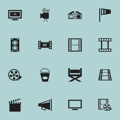 Set Of 16 Editable Cinema Icons. Includes Symbols Such As Pennant, Monitor, Tripod And More. Can Be Used For Web, Mobile, UI And Infographic Design.
