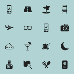 Set Of 16 Editable Travel Icons. Includes Symbols Such As Crescent, Tent In Phone, Telephone And More. Can Be Used For Web, Mobile, UI And Infographic Design.