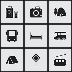 Set Of 9 Editable Journey Icons. Includes Symbols Such As Tabernacle, Cableway, Caution And More. Can Be Used For Web, Mobile, UI And Infographic Design.