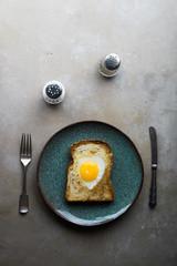 Love heart fried egg toast