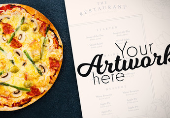Menu on Counter with Homemade Pizza Mockup 1
