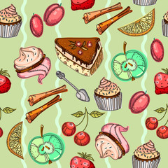 Sweets seamless pattern. Pastries, zephyr, cakes, sweet background for the menu, seamless pattern hand drawn vector