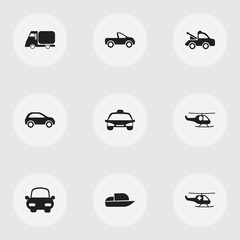 Set Of 9 Editable Transport Icons. Includes Symbols Such As Taxi, Drophead Coupe, Truck And More. Can Be Used For Web, Mobile, UI And Infographic Design.