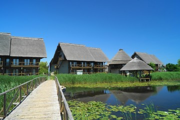 Houses with reed roof from the Danube Delta, Romania (Delta Dunarii)