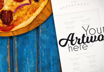 Menu on Blue Table with Homemade Pizza Mockup