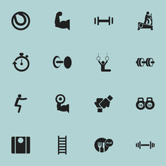 Set Of 16 Editable Sport Icons. Includes Symbols Such As Barbell, Stairway, Weightlifting And More. Can Be Used For Web, Mobile, UI And Infographic Design.
