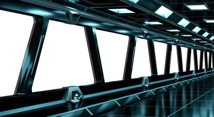 Spaceship black corridor 3D rendering