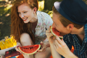 Couple Eating Watermelon on a Picnic