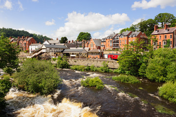 Llangollen town and the River Dee in North Wales the UK