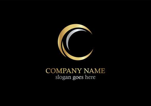 gold curve letter c company logo