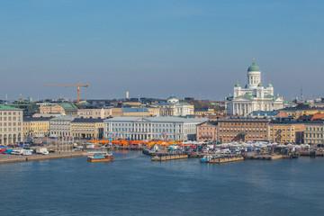 Helsinki cityscape and market square. The capital of Finland.