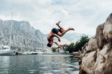 Man jumping into the water
