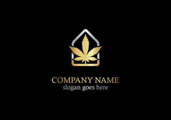gold cannabis leaf vector logo