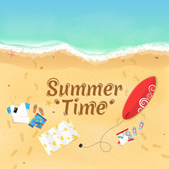 Summer time. On the beach are things, a surfboard and accessories. Cover for your project. Top view of the beach. Exotic zone of rest. Vector illustration. Dark text on the sand