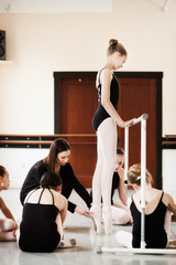Ballet Class Watches Teaches Show Positioning