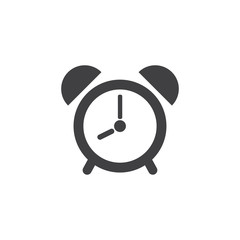 Alarm clock icon in black on a white background. Vector illustration