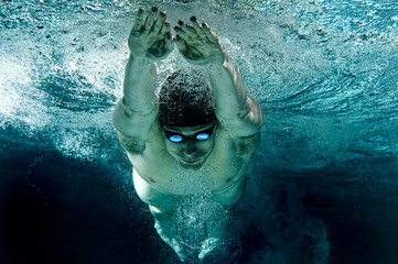 Underwater Olympic Swimming Breaststroke Glide