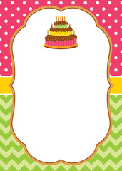 Vector Card Template with a Cake and Candles on Stripes and Polka Dot Background.