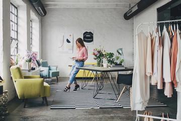 Woman Jurnalist Working at Fashion Editing Office